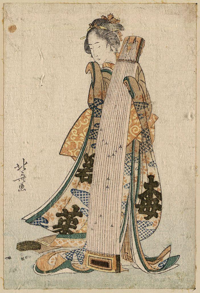 """""""Joven doncella con koto"""" de Katsushika Hokusai (ca. 1800)"""